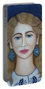 Woman With Silver Earrings Portable Battery Charger