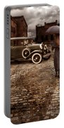 Woman With Umbrella By Vintage Car Portable Battery Charger by Jill Battaglia