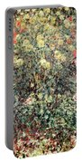 Women In The Flowers Portable Battery Charger by Claude Monet