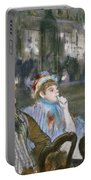 Women On A Cafe Terrace Portable Battery Charger by Edgar Degas