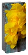 Wonderful Yellow Tulips With Dew Portable Battery Charger