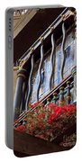 Wood Beams Red Flowers And Blue Window Portable Battery Charger