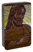 Wood Carving Of Jesus Portable Battery Charger