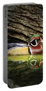 Wood Duck In Wood Portable Battery Charger