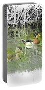 Wood Duck Pair Swimming. Portable Battery Charger