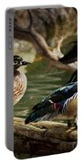 Wood Ducks Posing On A Log Portable Battery Charger