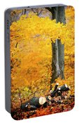 Wood Pile In Autumn Portable Battery Charger
