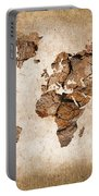 Wood World Map Portable Battery Charger by Delphimages Photo Creations