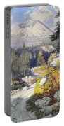 Wooded Landscape With A Path And A Mountain Beyond Portable Battery Charger