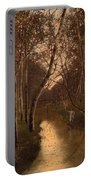 Wooded Landscape With Angler On The Riverside Portable Battery Charger