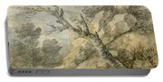Wooded Landscape With Rocks And Tree Stump Portable Battery Charger