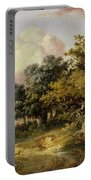 Wooded Landscape With Woman And Child Walking Down A Road  Portable Battery Charger