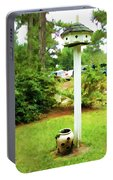 Wooden Bird House On A Pole 6 Portable Battery Charger