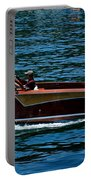 Wooden Boat Waves On Tahoe Portable Battery Charger