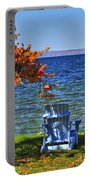 Wooden Chairs On Autumn Lake Portable Battery Charger
