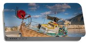 Wooden Fishing Boat On Shore Portable Battery Charger