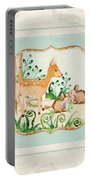 Woodland Fairy Tale - Deer Fawn Baby Bunny Rabbits In Forest Portable Battery Charger