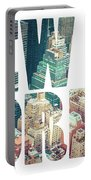 Word Usa Manhattan Skyline At Sunset, New York City  Portable Battery Charger