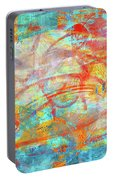 Work 00099 Abstraction In Cyan, Blue, Orange, Red Portable Battery Charger by Alex Hall