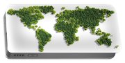 World Map Made Of Green Trees Portable Battery Charger