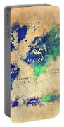 World Map Oceans And Continents Art Portable Battery Charger
