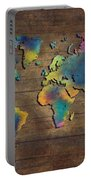 World Map Wood Portable Battery Charger