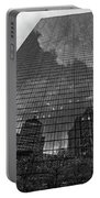 World's Largest Canvas John Hancock Tower Boston Ma Black And White Portable Battery Charger
