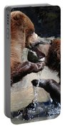 Wrestling Grizzly Bears In A Shallow River Portable Battery Charger
