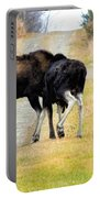 Amorous Moose Wrestling Portable Battery Charger