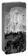 Wyoming Devils Tower National Monument With Climbers Bw Portable Battery Charger