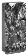 Wysteria Tree In Black And White Portable Battery Charger