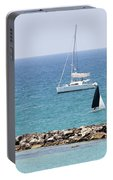 yacht sailing in the Mediterranean sea Portable Battery Charger