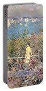 Yachts In Gloucester Harbor Portable Battery Charger by Childe Hassam
