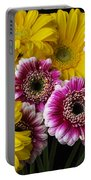 Yellow And Pink Gerbera Daisies Portable Battery Charger