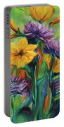 Yellow And Purple Flowers Portable Battery Charger