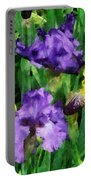 Yellow And Purple Irises Portable Battery Charger