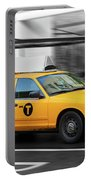 Yellow Cab In Manhattan In A Rainy Day. Portable Battery Charger