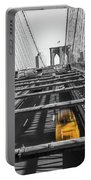 Yellow Cab On Brooklyn Bridge, New York 3 Portable Battery Charger