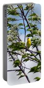 Yellow Finch And Flowers Portable Battery Charger