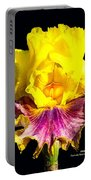 Yellow Flower On Black Portable Battery Charger