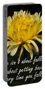 Yellow Flower With Inspirational Text Portable Battery Charger