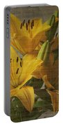 Yellow Lilies With Old Canvas Texture Background Portable Battery Charger