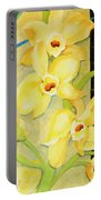 Yellow Orchids With Black Screen Portable Battery Charger