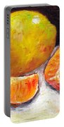 Yellow Pear With Tangerine Slices Grace Venditti Montreal Art Portable Battery Charger