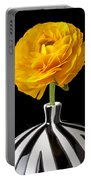 Yellow Ranunculus In Striped Vase Portable Battery Charger