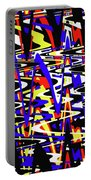 Yellow Red Blue Black And White Abstract Portable Battery Charger