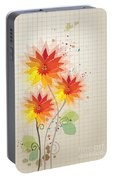 Yellow Red Floral Illustration Portable Battery Charger