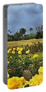 Yellow Roses And Dark Sky Portable Battery Charger
