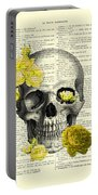 Skull With Yellow Roses Dictionary Art Print Portable Battery Charger