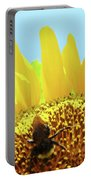 Yellow Sunflower Art Prints Bumble Bee Baslee Troutman Portable Battery Charger